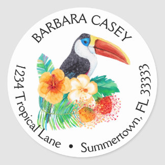 Tropical Toucan Watercolor Return Address Label