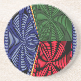 TROPICAL Tree Art Spiral Blink Vacation Trip FUN Coaster
