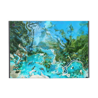 Tropical Turquoise Ocean Blue & Seaweed Green Cover For iPad Mini