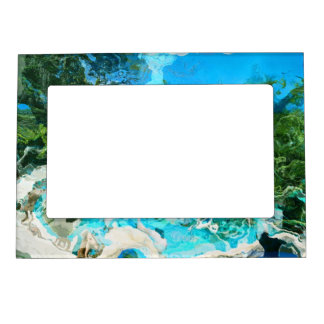 Tropical Turquoise Ocean Blue & Seaweed Green Magnetic Picture Frame