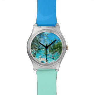 Tropical Turquoise Ocean Blue & Seaweed Green Wrist Watches