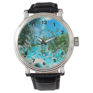Tropical Turquoise Ocean Blue & Seaweed Green Wrist Watch
