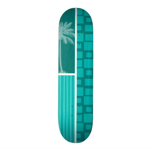 Tropical Turquoise Squares Skate Decks