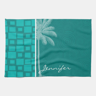 Tropical Turquoise Squares Tea Towel