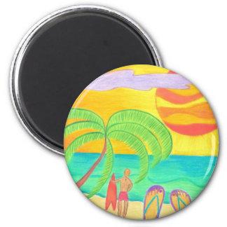 Tropical Twilight Glow 6 Cm Round Magnet