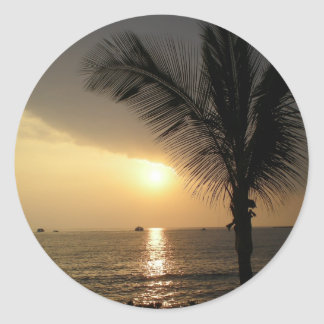 Tropical Twilight Time Sunset Round Sticker