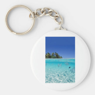 Tropical Underwater Basic Round Button Key Ring