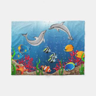 Tropical Underwater World Small Fleece Blanket