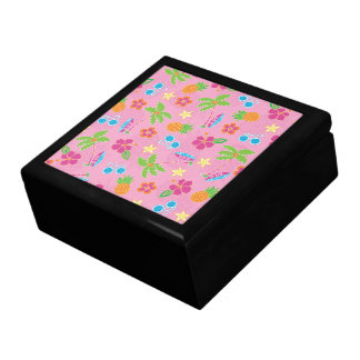 Tropical Vacation on Pink Pattern Trinket Boxes
