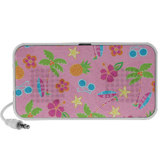 Tropical Vacation on Pink Pattern iPod Speaker