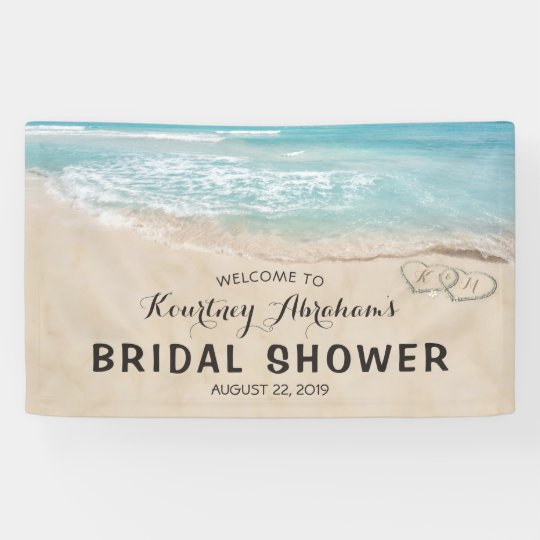 Tropical Vintage Beach Heart Shore Bridal Shower Banner