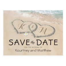 Tropical Vintage Beach Heart Shore Save the Date