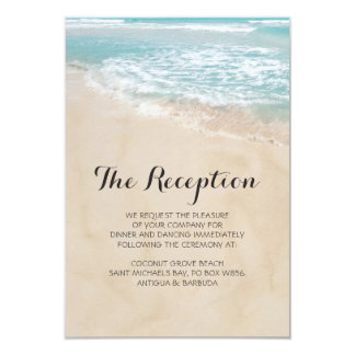 Tropical Vintage Beach Heart Wedding Reception Card