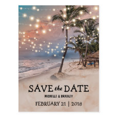 Tropical Vintage Beach Lights Save the Date