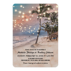 Tropical Vintage Beach Lights Wedding