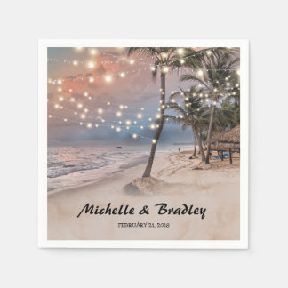 Tropical Vintage Beach Lights Wedding Paper Serviettes