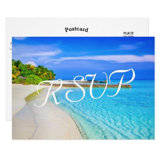 Tropical Vintage Beach Wedding Destination RSVP Card