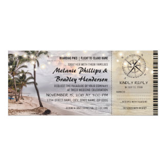 Tropical Vintage Beach Wedding Tickets with RSVP 10 Cm X 24 Cm Invitation Card