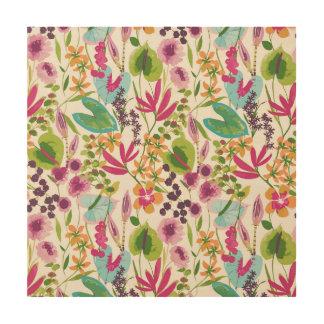 Tropical Vintage Floral Pattern Wood Prints