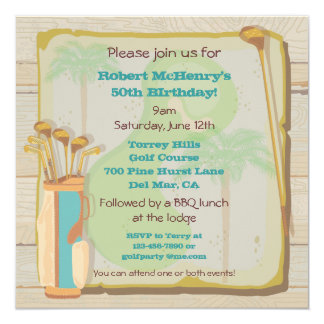 Tropical Vintage Golf Party Tournament Invitation