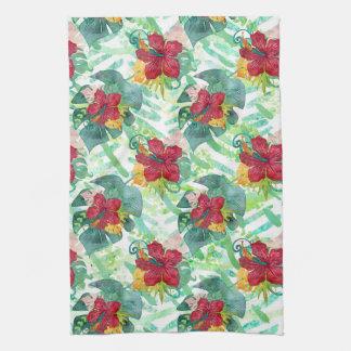 Tropical Watercolor Botanical Palm Leaf & Hibiscus Tea Towel