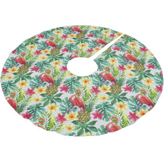 Tropical Watercolor Brushed Polyester Tree Skirt