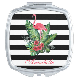 Tropical Watercolor Flamingo and flowers stripes Compact Mirror