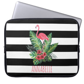 Tropical Watercolor Flamingo and flowers stripes Laptop Computer Sleeves