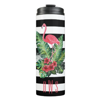 Tropical Watercolor Flamingo and flowers stripes Thermal Tumbler
