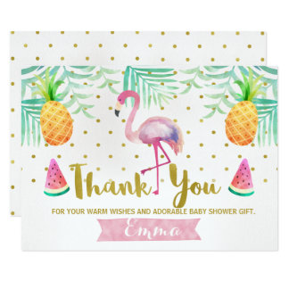 Tropical Watercolor Flamingo Thank You Card