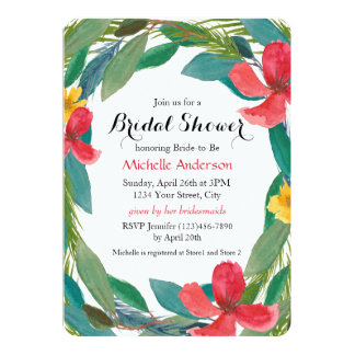 Tropical Watercolor Floral Bridal Shower 13 Cm X 18 Cm Invitation Card