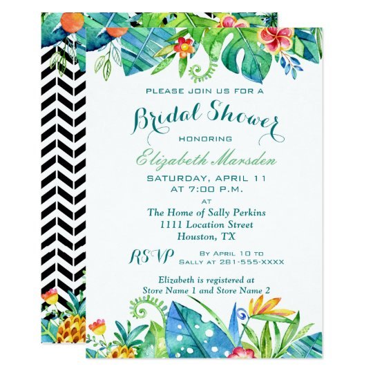 Tropical Watercolor Floral Bridal Shower Card