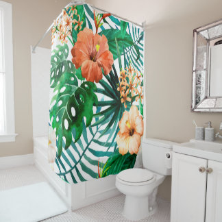 Tropical Watercolor Floral Pattern Shower Curtain