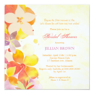 Tropical Watercolor Flowers Bridal Shower 13 Cm X 13 Cm Square Invitation Card