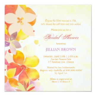 Tropical Watercolor Flowers Bridal Shower 13 Cm X 13 Cm Square Invitation Card