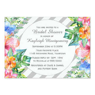 Tropical Watercolor Flowers Bridal Shower 13 Cm X 18 Cm Invitation Card