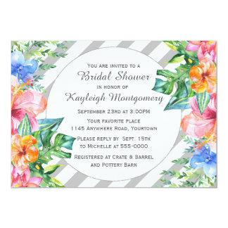 Tropical Watercolor Flowers Bridal Shower 13 Cm X 18 Cm Invitation Card
