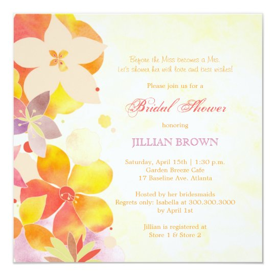 Tropical Watercolor Flowers Bridal Shower Card