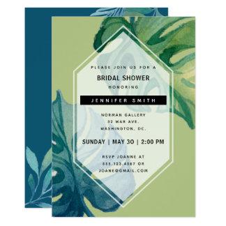 Tropical Watercolor Foliage Bridal Shower Card