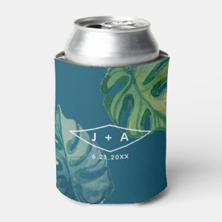 Tropical Watercolor Foliage Can Cooler