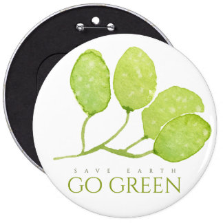 TROPICAL WATERCOLOR FOLIAGE SAVE EARTH GO GREEN 6 CM ROUND BADGE