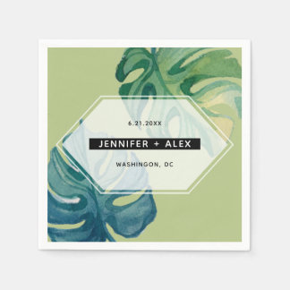 Tropical Watercolor Foliage Wedding Disposable Napkin