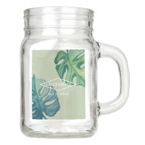 Tropical Watercolor Foliage Wedding Mason Jar