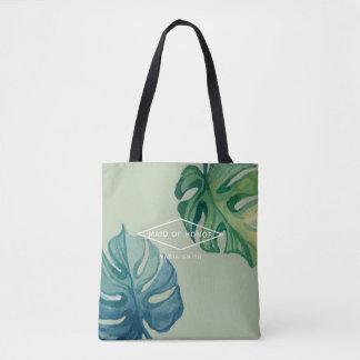 Tropical Watercolor Foliage Wedding Tote Bag