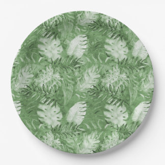 Tropical Watercolor Green Leaves Birthday Paper Plate