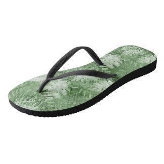 Tropical Watercolor Green Leaves Flip Flops