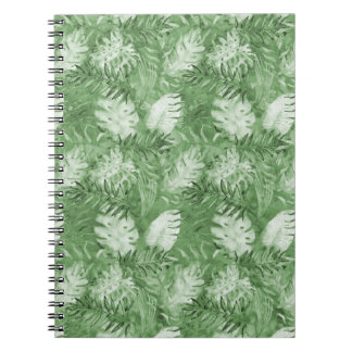 Tropical Watercolor Green Leaves Notebooks