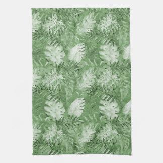 Tropical Watercolor Green Leaves Tea Towel