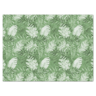 Tropical Watercolor Green Leaves Tissue Paper