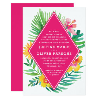 Tropical Watercolor Hot Pink Wedding Invitation